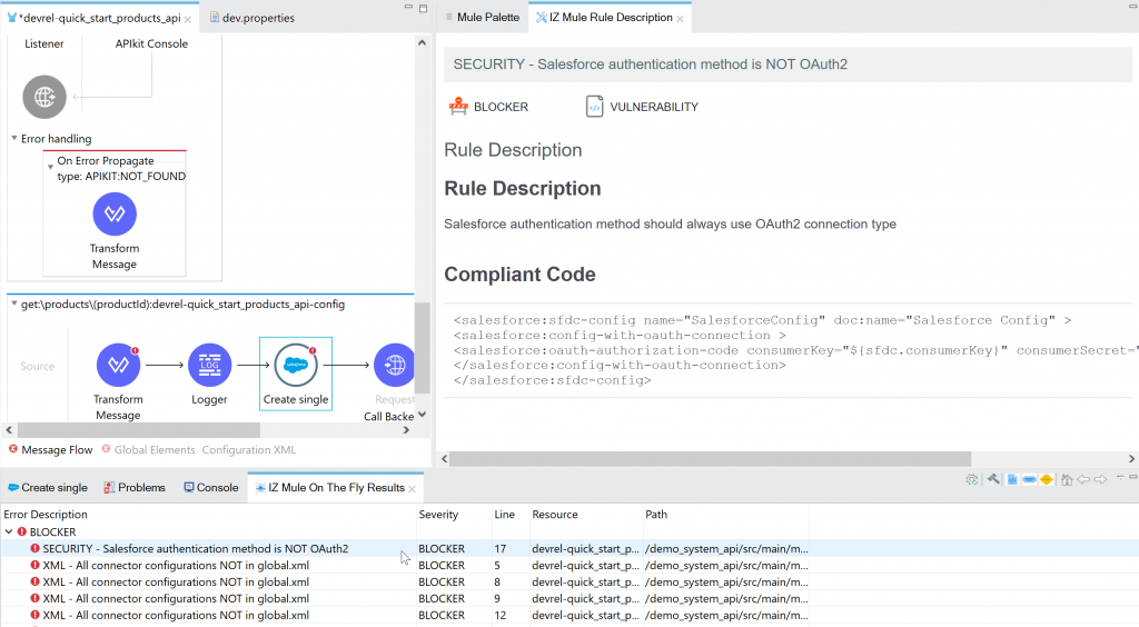 IZ Analyzer studio plugin showing salesforce connector custom rule. mulesoft static code analysis. Mulesoft Code quality.