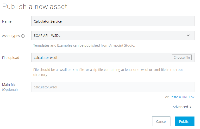 Publish Asset